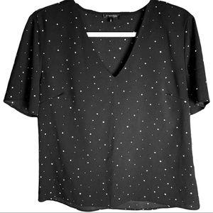 Dynamite Star Printed V-Neck Blouse Size Medium